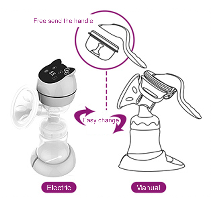 All-in-one USB Electric Breast Pump Powerful Suction LED Display cartoon Portable manual Breast Pumps with Rechargeable Battery