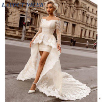 Above Knee Sheath Lace Wedding Dress with Detachable Train Sexy Off the Shoulder Long Sleeve Bridal Wedding Gowns
