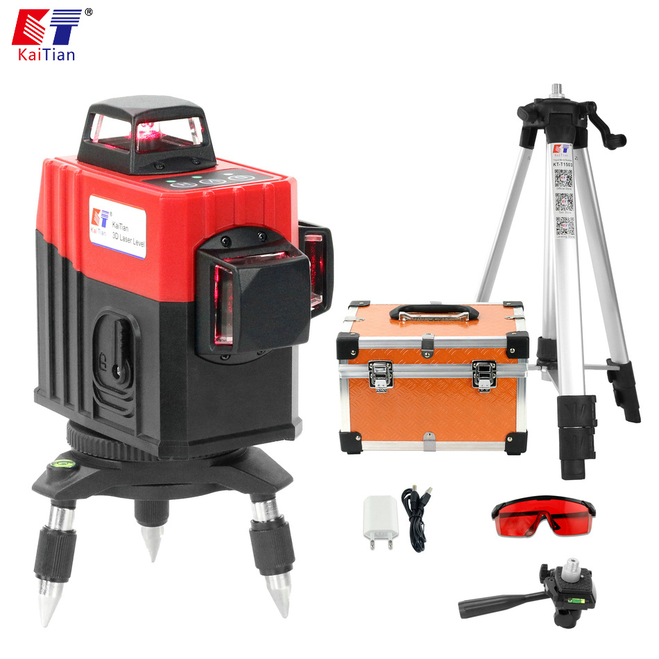 Kaitian 3D Laser Level 12 Lines 360 Rotary Nivel Laser Tripod for Level Lazer Receiver Bracket Building Tools Construction Tools kaitian green laser level 12 lines 3d nivel laser line 360 rotary construction tools tripod 5 8 receiver bracket for lazer level