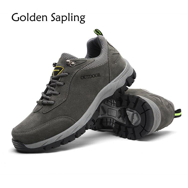 Golden Sapling Men Trekking Tactical Shoes Men's Sneakers Outdoor Waterproof Leather Mountain Hiking Shoes Sports Man Sneakers liqui moly molygen new generation 5w 40 5л
