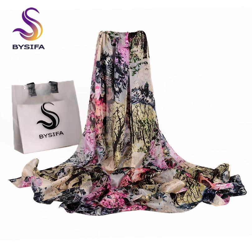 [BYSIFA] New Pink Grey Silk   Scarf   Shawl Winter Women Long   Scarves     Wraps   Fashion Mountain Forest Design Ultralong Ladies   Scarf