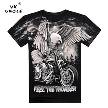 YK UNCLE Summer Motorcycle Eagle Printed Mens T Shirt Cotton Short Sleeve O-Neck Rock Fashion Men T-shirt M-XXXL High Quality