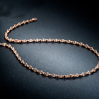 Solid AU750 Rose Gold Men Necklace Chain Heavy gold Necklace chain 3.6mmW