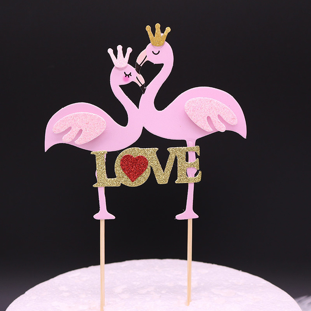 Cake Topper Flamingos Personalized Pink Love Wedding Decor Card With