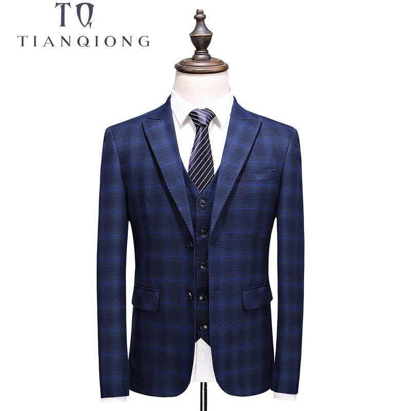天原作ブランド男性スーツ 2018 スリムフィットメンズチェック柄スーツ 3 ピース新郎の結婚式のスーツ高品質メンズスーツとパンツ