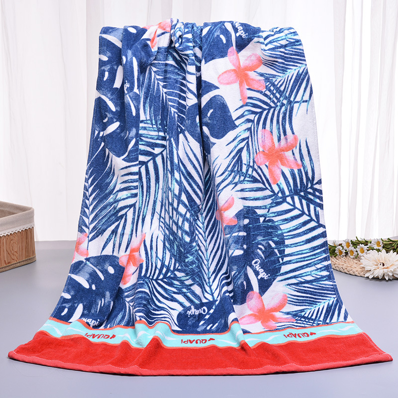 Tropical Wind Print Adult Bath Towel Large <font><b>70*150</b></font> Cotton Bath Towel Absorbent Towel Hotel Gift Towel image