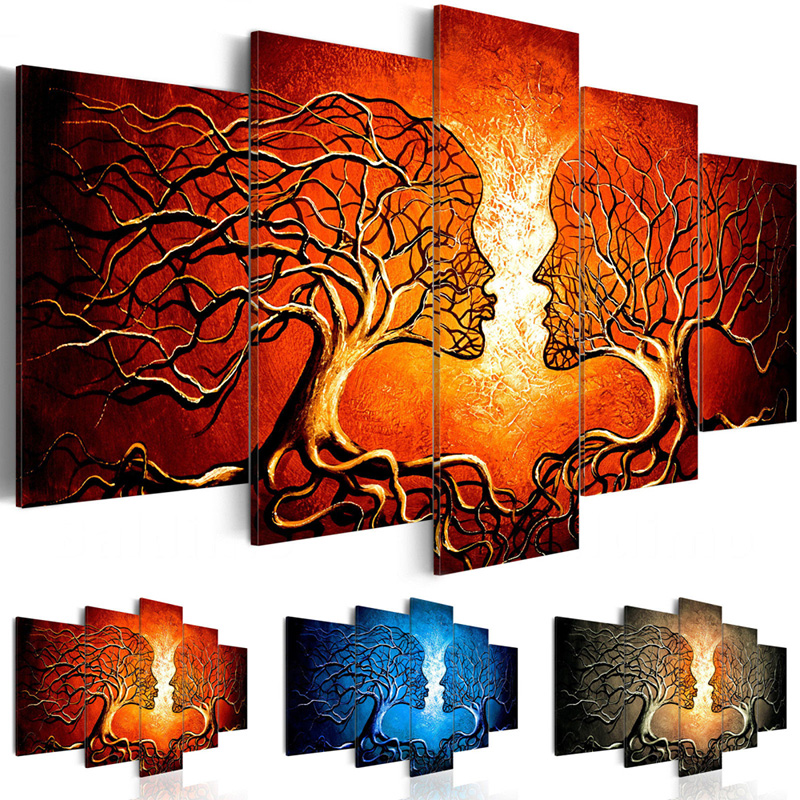 Canvas-Painting-5-Pieces-Kiss-Tree-Red-Blue-Yellow-Color-Love-Picture-Prints-Abstract-Poster-Modular (1)