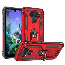 Luxury Armor Soft Shockproof Case For LG Q60 K50 K40 Silicone magnet Car Holder Ring for stylo 5 cover aristo 2 3