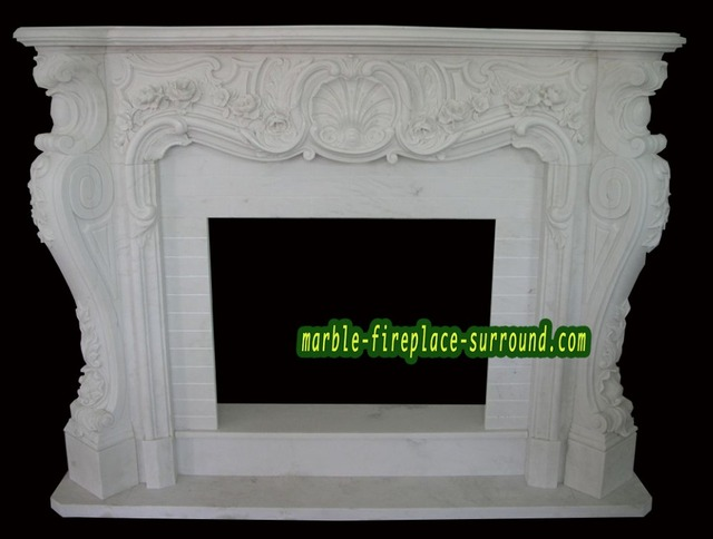 Victorian Fireplace White Marble Rococo Style Victorian Fireplace