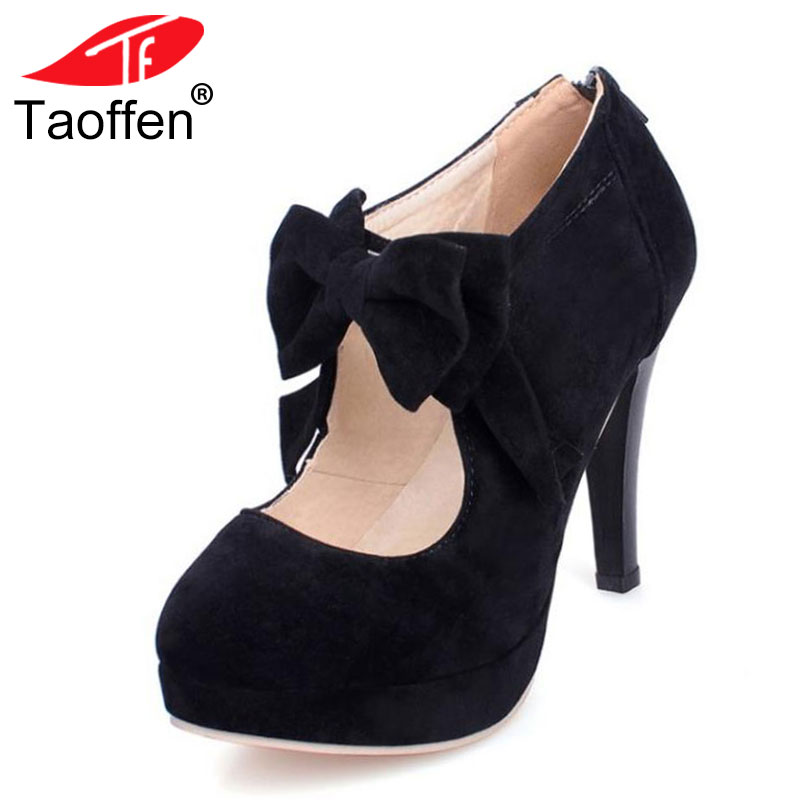 TAOFFEN size 30-47 fashion vintage woman small bowtie platform pumps,ladys sexy high heeled shoes for women footwear PA00150 босоножки