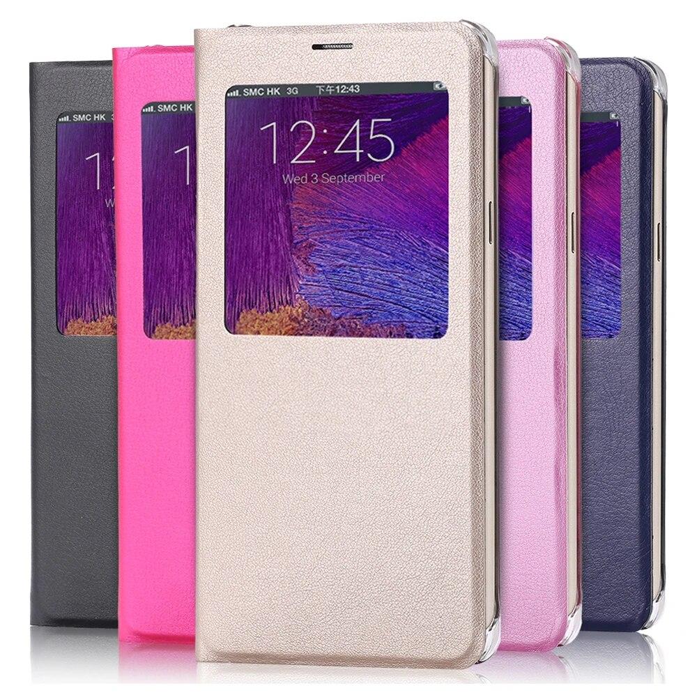 Coque de téléphone à rabat en cuir PU, étui de luxe avec fenêtre pour Samsung Galaxy S6 S7 edge S8 S9 Plus Note 8 9 S8 S9 Note 9