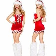 6ecdd4fb1 Traje de Santa Claus para adultos mujeres sexy Navidad vestido traje rojo  Navidad carnaval traje nuevo mini vestido con calentad.
