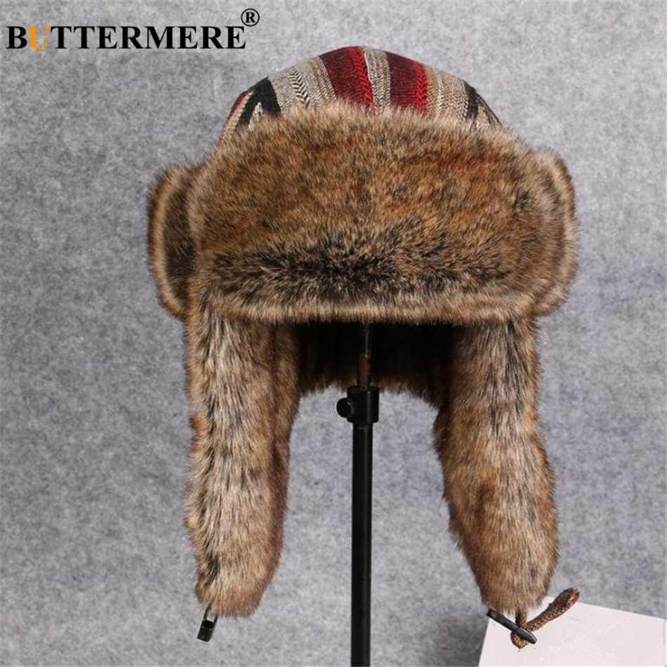 BUTTERMERE 冬帽子女性男性爆撃機の帽子ストライプ毛皮ロシアソビエト Ushanka 帽子耳フラップ暖かい防風厚手パイロットキャップ