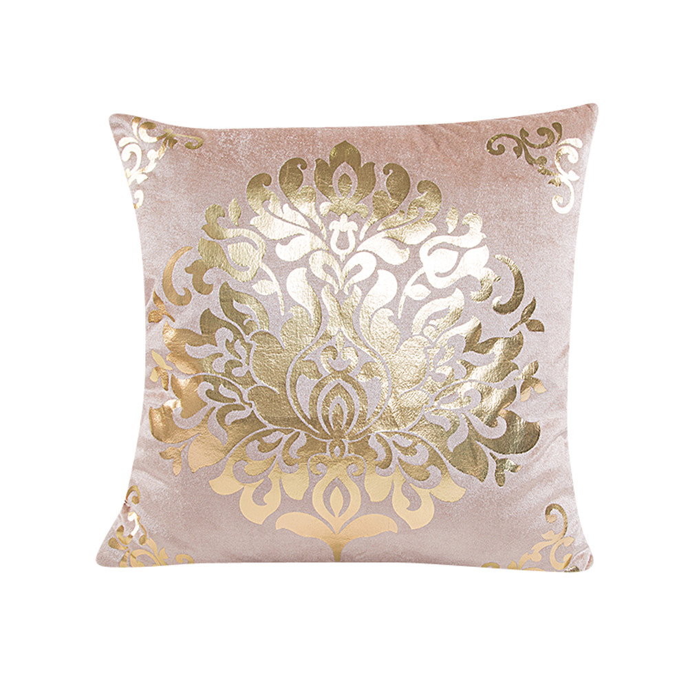 Gold Bronzing Pillow Cases Luxury Flower Printed Cotton Pillow Case Bedroom Home Office Decorative Throw Pillowcases