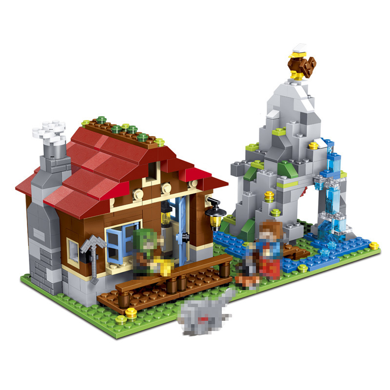592pcs New Technic 3in1 My World Building Blocks Sets Mountain Hut Compatible LegoINGLYS Minecrafter Toys for Children lele my world power morse train building blocks kits classic educational children toys compatible legoinglys minecrafter 541 pcs