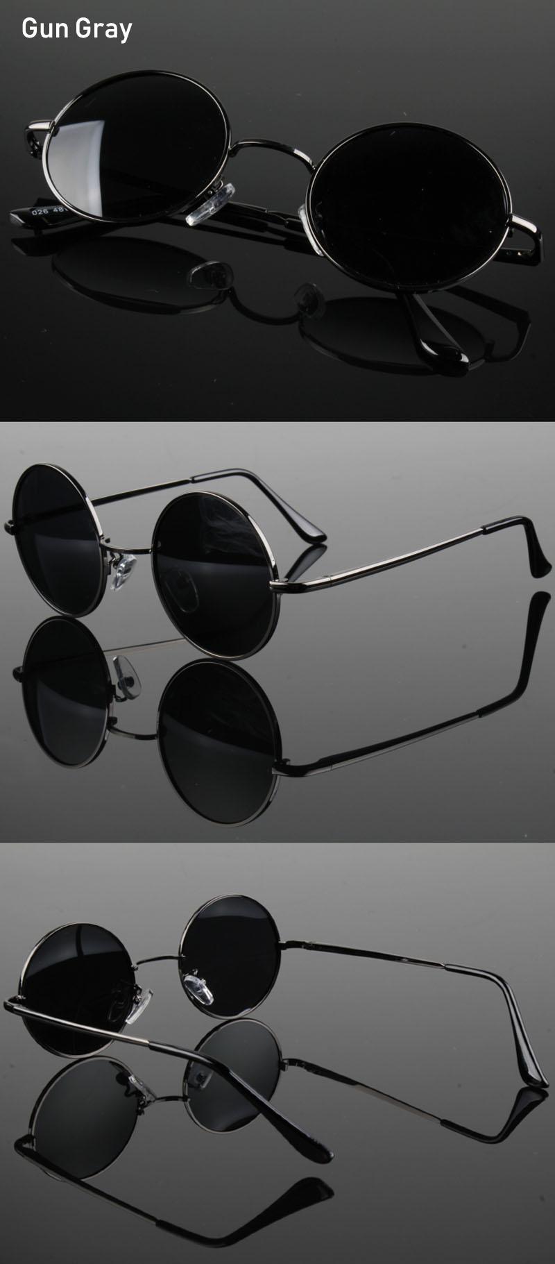 Retro Classic Vintage Round Polarized Sunglasses Men Brand Designer Sun Glasses Women Metal Frame Black lens Eyewear Driving 2