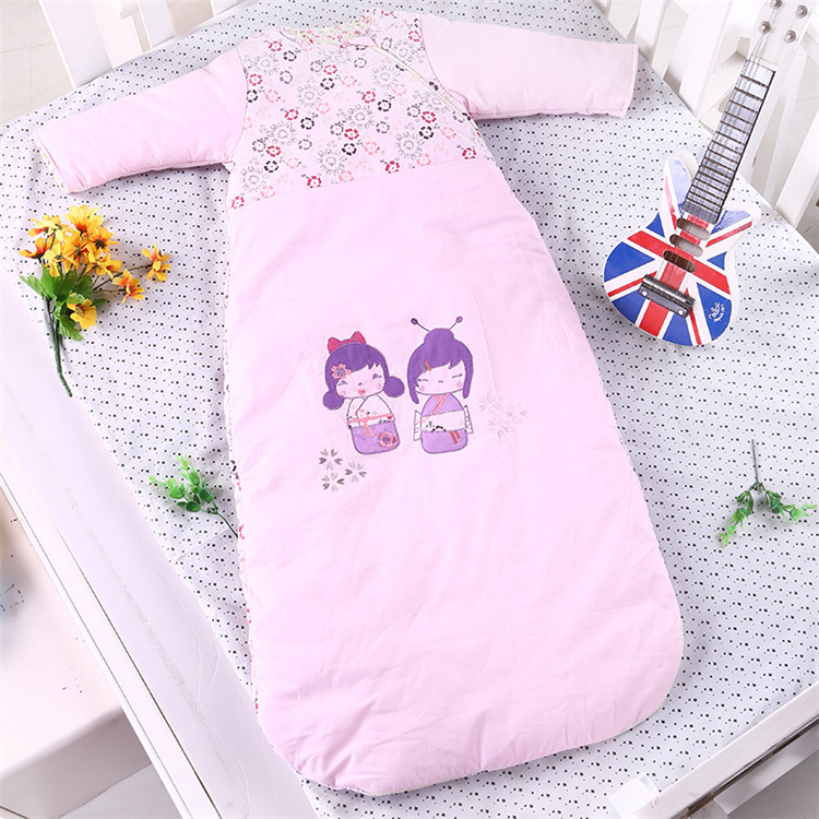 ФОТО Princess Retractable Long - Sleeved Sleeping Bag Cotton Fine Embroidery Pink Thickening in Autumn and Winter LD1124053