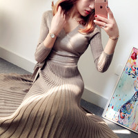 Spring and Autumn Women's new V neck silk pleated dress sexy high waist knit Slim solid color large dress TB895