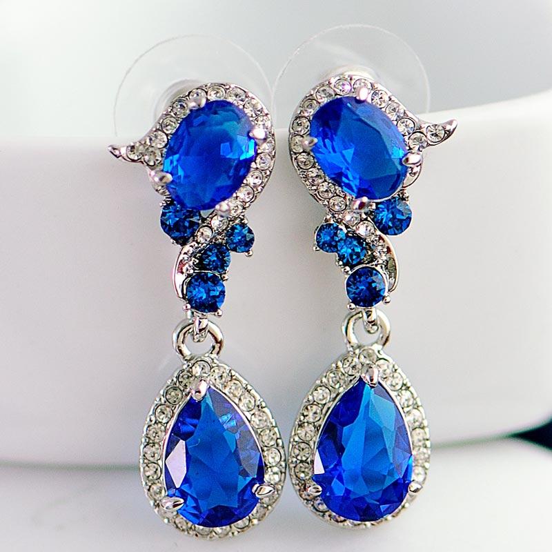 Boucles d'oreilles en cristal de mariage pour femmes longues boucles d'oreilles coréenne femme tempérament mode boucle d'oreille mariée mariage bijoux personnalisés rouge - 3