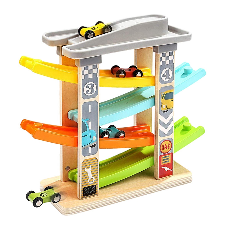 Baby Car Toy For 3-6 Years Old, 4 Mini Car Wooden Track Ramp Racing Game, Suitable For Boys And Girls