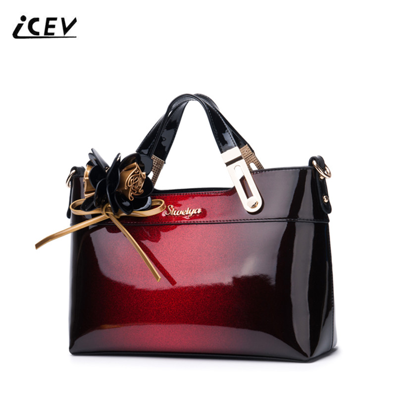 ICEV 2018 New Fashion High Quality Patent Leather Handbags Top Handle Bags Handbags Women Famous Brands Women Leather Handbags icev new fashion europe style genuine leather handbags alligator women leather handbags bags handbags women famous brands bolsa