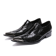 Mens italian leather shoes snake skin men loafers pointed toe dress high heels steel oxford office shoe for man