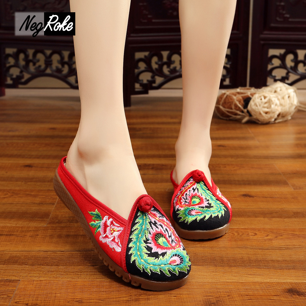 Chinese embroidery shoes women slides home slippers women casual shoes Retro flip flops sandals oxford shoes
