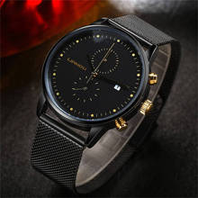 LIANDU Brand Ultra-Thin Stainless Steel Mesh Chronograph Quartz Watch Fashion Casual Black Dial Waterproof Calendar Mens Watches liandu fashion men s luxury chronograph luminous black quartz watch simulated stainless steel mesh with watch