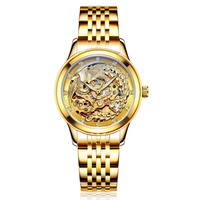 Relogios Homens gold clock Luxury Dragon & phoenix women watch men hollow engraving automatic mechanical watches Orologio Donna