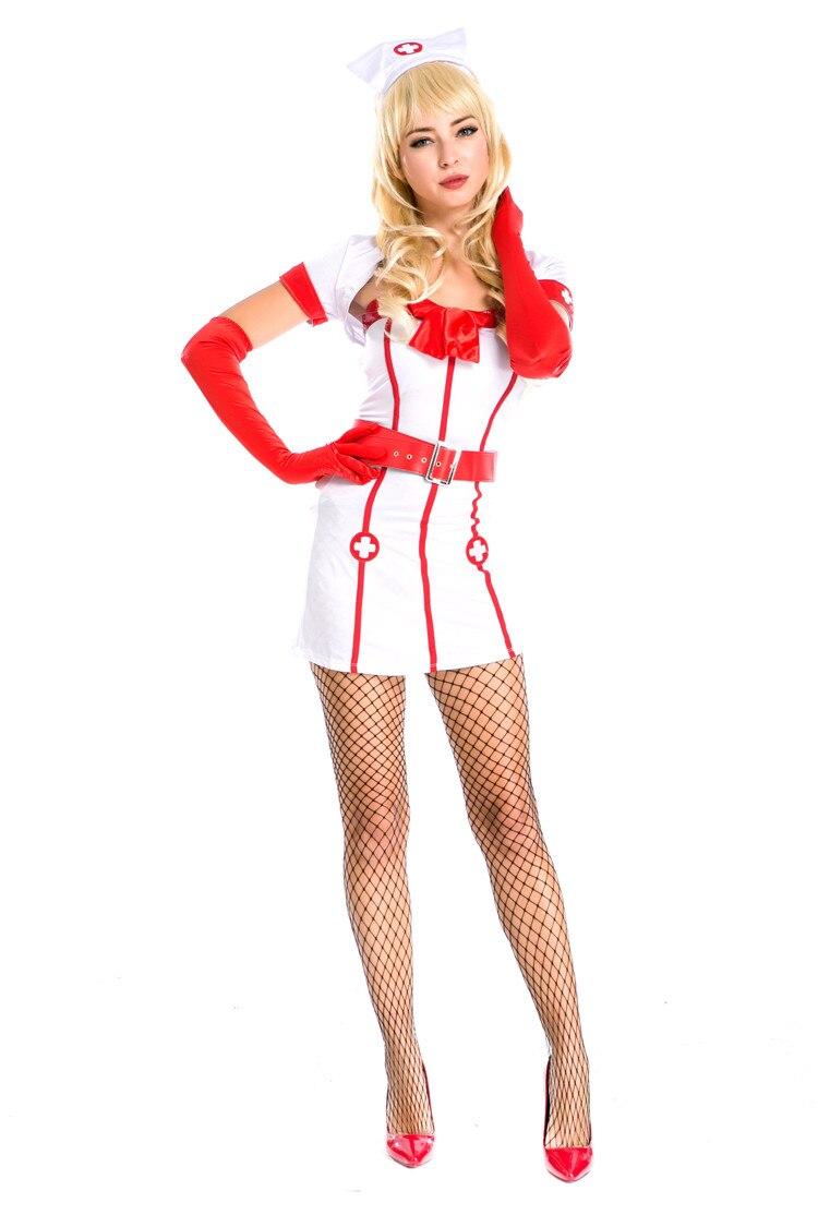 2017 New Sexy Fashion Design Embellishment bow Nurse Costume Set Fantasias Erotic Cosplay Nurse Uniform Tempt Dress