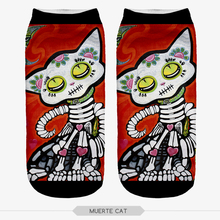 2016 Women/Girl Casual Thin Funny Harajuku MUERTE CAT Print Anklet Socks Chaussettes Femmes Rigolote Calcetines