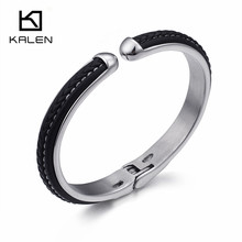 KALEN High Polished Stainless Steel Opening Cuff Bangles For Men Vintage  Black Leather Hinged Bangles Bracelets f998a961909a