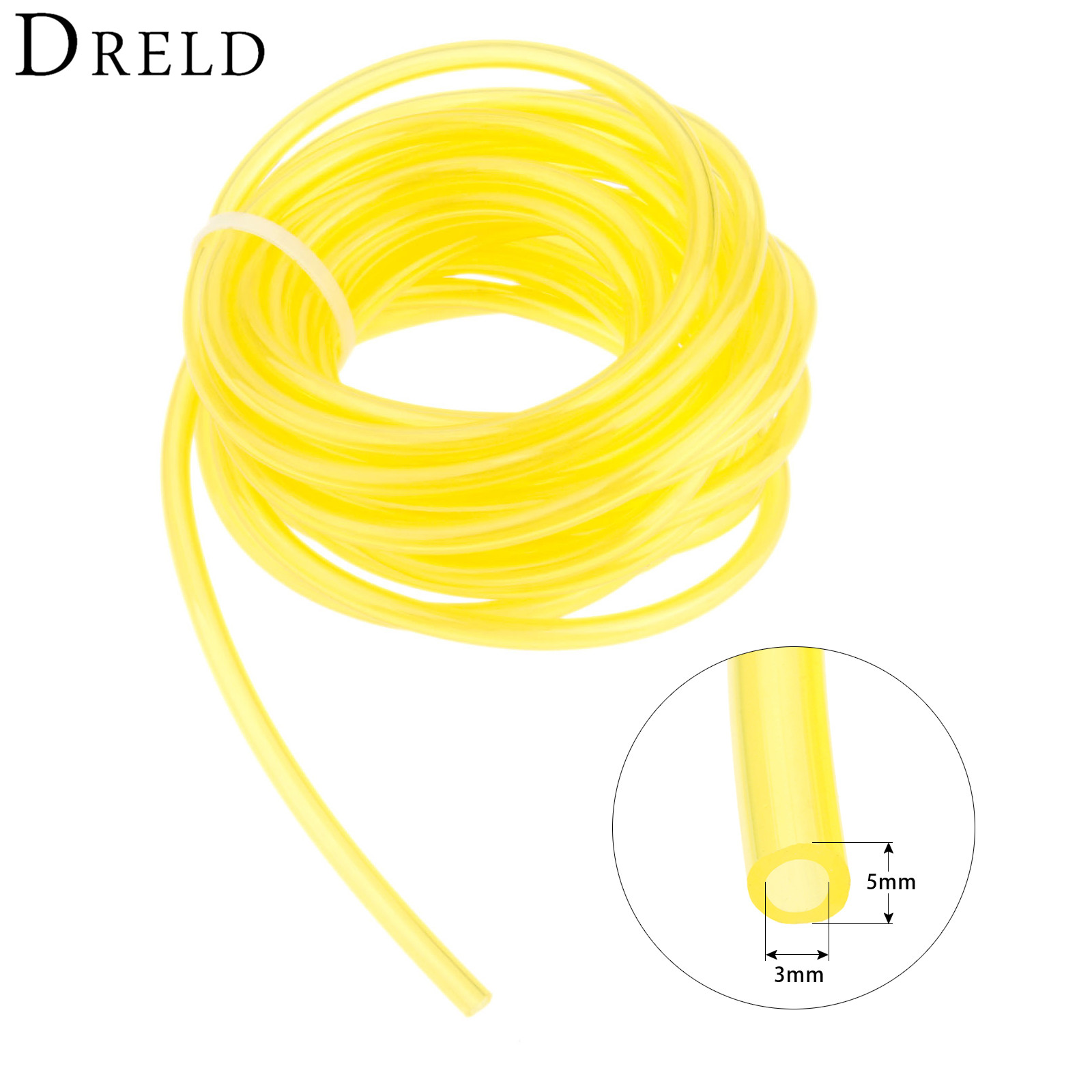 DRELD Chainsaw Fule Oil Tank Chain Saw Spare Parts Yellow Oil Pipe Inner Dia 3mm 5 Meter Garden Power Tools