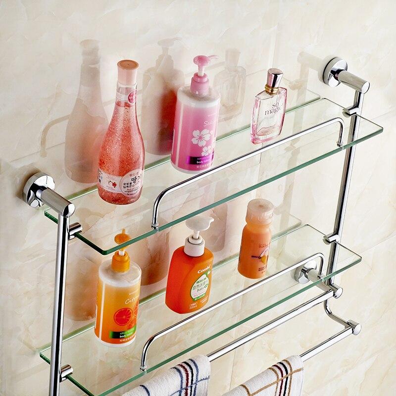 Brass Bathroom Glass Shelf Finish With Tempered Glass, Towel Shelves ...