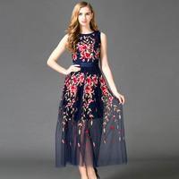 New Arrival 2016 Women S O Neck Sleeveless Embroidery Flowers Layered Tulle Elegant Long Runway Dresses