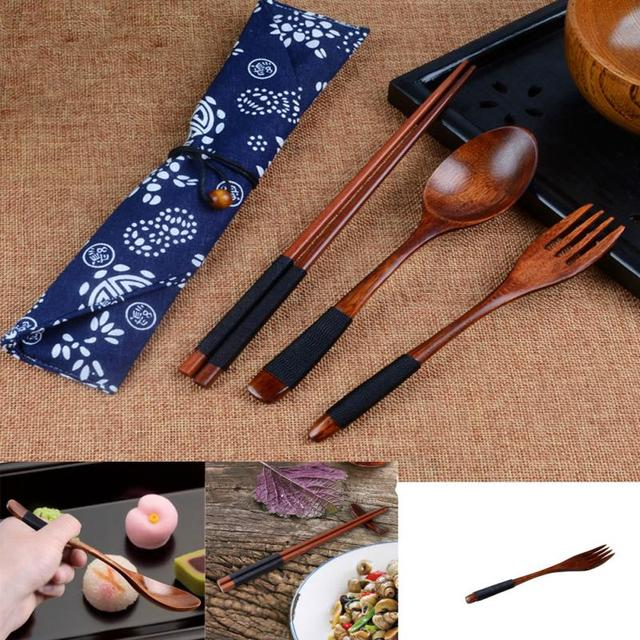 Wooden Cutlery Set with Bag