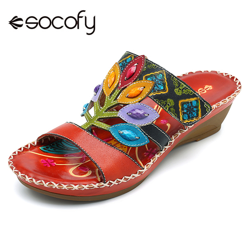 Socofy Bohemian Handmade Slippers Women Shoes Genuine Leather Beach Sandals Mid Wedge Bohemia Summer Shoes Woman Sandalias Mujer socofy bohemian genuine leather shoes women sandals vintage printing forest hook loop wedge heel women slippers summer new