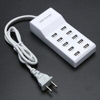 10 יציאת USB בית נסיעות וול AC מטען AC100 ~ 240 V תשלום מהיר רצועת כוח מתאם ארה