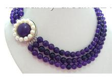 Women jewelry choker anime gem chocker maxi collier  CLASSIC 3strands 8mm round genuine Amethyst beads Necklace