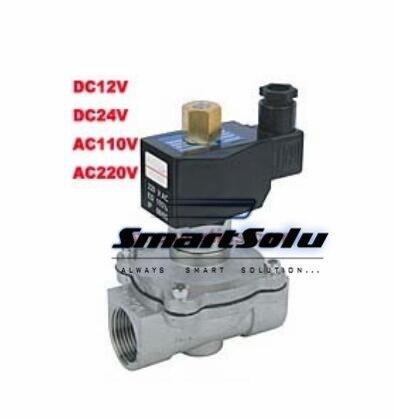 Livraison gratuite 1/2 '' normalement ouvert 2 maneira en acier inoxydable VITON électrovanne DC12V dc24v, Ac110v ou AC220V