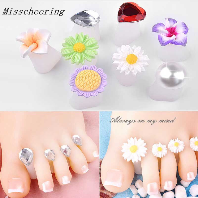 8 Pcsset Nail Art Tools Silicone Toe Separator Foot Pads For Home