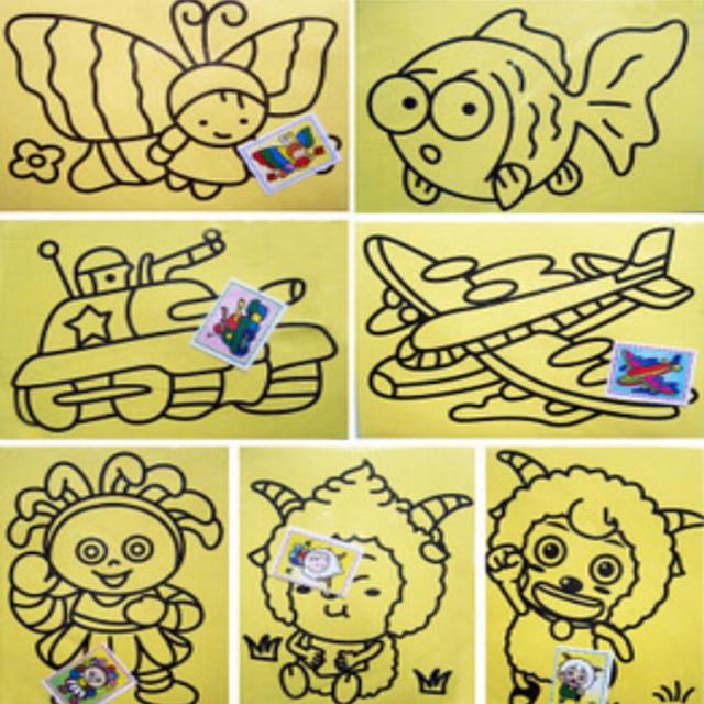 1 41 22 De Reduction 5 Pcs Lot Dessin Facile Papier Dessin Multi Carte Enfants Livres Trompette 9x12 Cm Sable Peinture Dans Dessin Jouets De Jouets