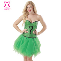 Green Sequin Magician Corset Skirt Burlesque Outfits Carnival Party Fancy Dress Cosplay Sorcerer Halloween Costumes For