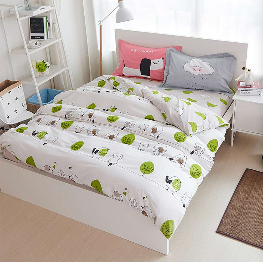 Bed sheets for teenagers - Cotton Cartoon Bird Single Double Bedding Sets Teen Child Twin Full Queen King Home Textiles