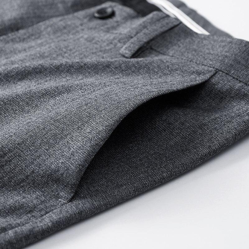 QZHIHE Men's Cotton Straight Slim Suit Pants Adult Male Mid Waist Elastic Trousers Office Wear Ankle-length Pants 70128 14