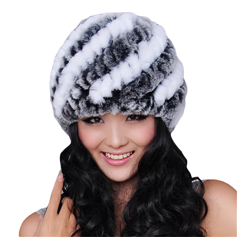 New Genuine Rex Fur Pom Poms Snow Cap Winter Hats Fur Knitting Rabbit Skullies Hats Women Hats For Girls Skull Cap Genuine llama and pom poms snow jackets p