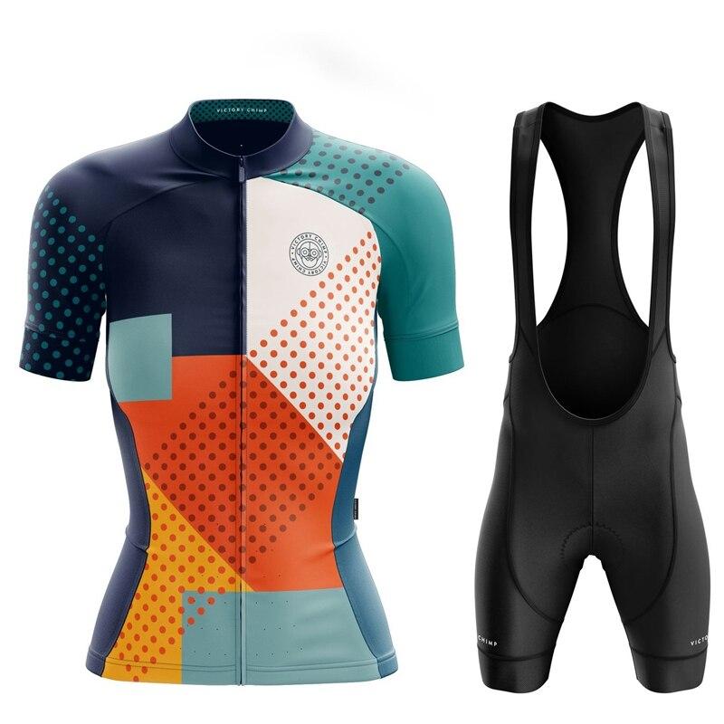 Victory Chimp Team Cycling Suit Women Short Sleeve Jersey With Bib Shorts Breathable Gel Pad Shorts Riding Kit Tuta Da Ciclista