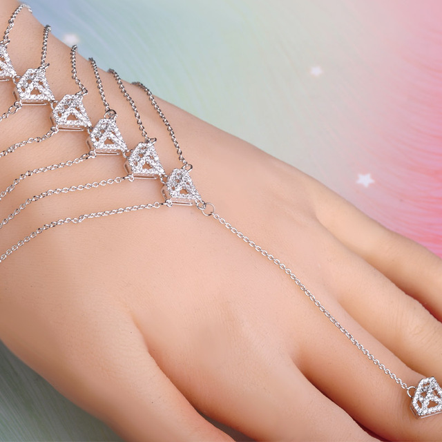 Micro Pave Zircon Bracelet With Ring Rhodium Plated Rhombus Tassel Hand Harness Copper Bracelet &Rings For Women Pulseras Mujer