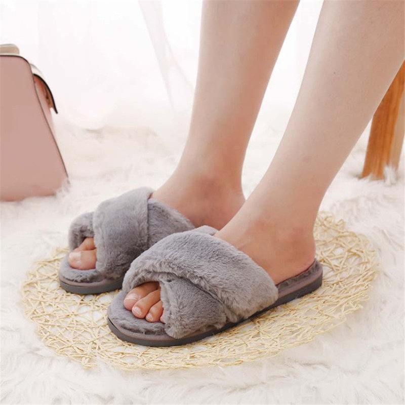 shop with crypto buy Winter Women Home Slippers with Faux Fur Fashion Warm Shoes Woman Slip on Flats Female Slides Black Pink Plus Size 41 pay with bitcoin