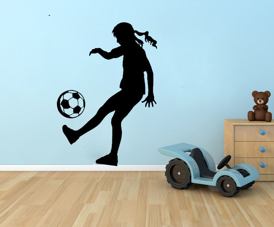 soccer girl silhouette sports vinyl wall quote home decor ation wall